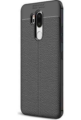 KNY LG G7 Kılıf Deri Desenli Lux Niss Silikon + Nano Cam Ekran Koruyucu
