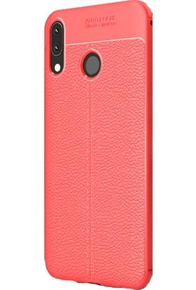 KNY Asus Zenfone 5 ZE620KL Kılıf Deri Desenli Lux Niss Silikon + Cam Ekran Koruyucu
