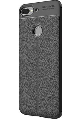 KNY HTC Desire 12 Plus Kılıf Deri Desenli Lux Niss Silikon + Cam Ekran Koruyucu