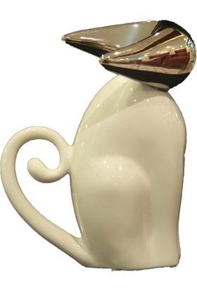 Cossa Beyaz Silver Kedi Hediyelik