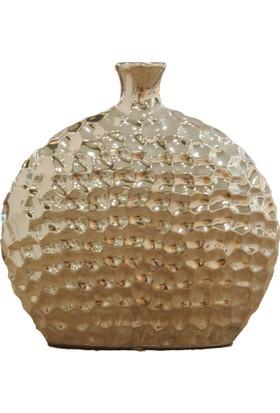 Kt Gümüş Nokta Desenli Yassı Vazo