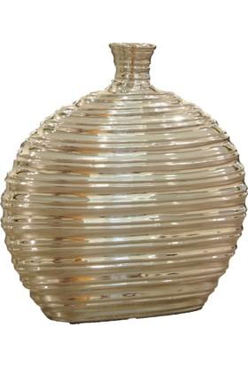 Kt Gümüş Desenli Yassı Vazo