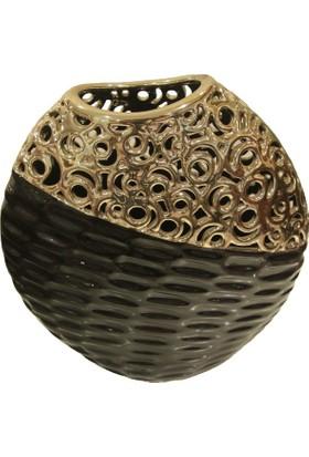 Cossa Siyah Altın Varaklı Geniş Ağızlı Yassı Vazo