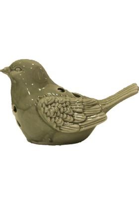 Kt Dekoratif Büyük Boy Porselen Delikli Kuş Biblosu Kum Rengi