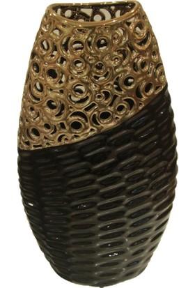 Cossa Siyah Altın Varaklı Yassı Vazo