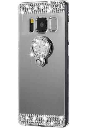 Kapakevi Samsung Galaxy J7 2015 Aynalı Taşlı Yüzüklü Koruma Kılıf Silver