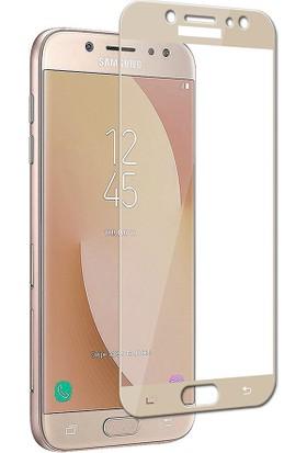 Kapakevi Samsung Galaxy J7 Pro 4D Nano Ekran Koruyucu Cam Kavisli Gold