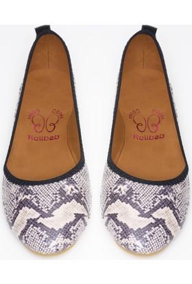 Rollbab Kadın Yılan Derisi Desen Ayakkabı Set