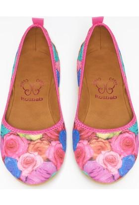 Rollbab Kadın Renkli Güller Ayakkabı Set