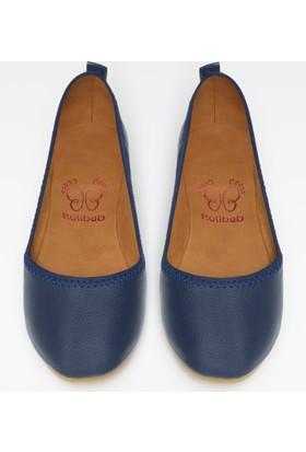 Rollbab Kadın Lacivert Deri Ayakkabı Set