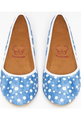 Rollbab Kadın Beyaz Puantiye Ayakkabı Set