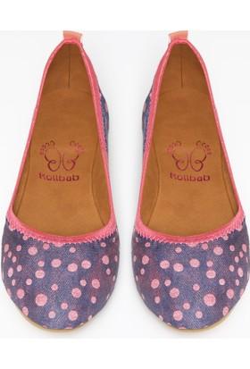 Rollbab Kadın Pembe Puantiye Ayakkabı Set