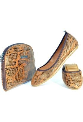 Rollbab Kadın Kahve Yılan Ayakkabı Set