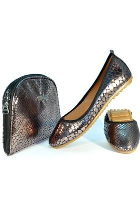 Rollbab Kadın Bakır Düz Yılan Ayakkabı Set