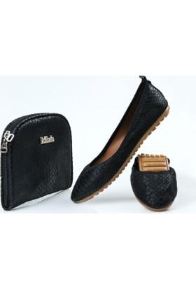 Rollbab Kadın Siyah Düz Yılan Ayakkabı Set