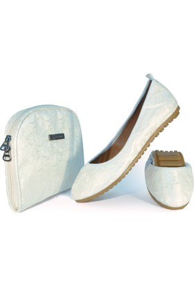 Rollbab Kadın Beyaz Güpür Ayakkabı Set