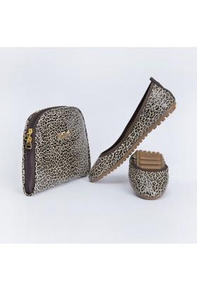 Rollbab Kadın Kahve Leopar Ayakkabı Set