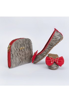 Rollbab Kadın Zebra Kurdelalı Ayakkabı Set
