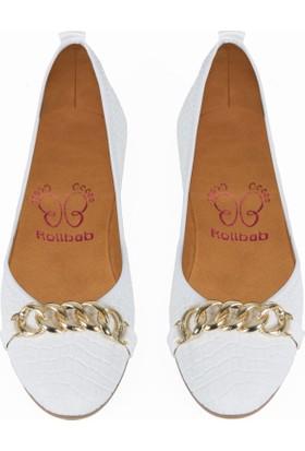 Rollbab Kadın Beyaz Kroko (Altın) Ayakkabı Set