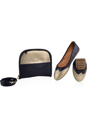 Rollbab Kadın Lacivert Maskülen Ayakkabı Set