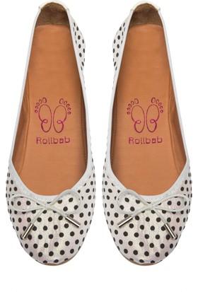 Rollbab Kadın Beyaz Noktalı Mini Fiyonklu Ayakkabı Set