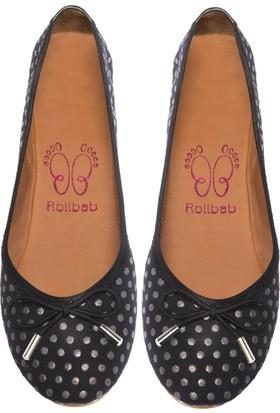 Rollbab Kadın Platin Noktalı Mini Fiyonklu Ayakkabı Set