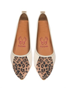 Rollbab Kadın Leopar Yüksek Önü Tüylü Ayakkabı Set