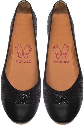 Rollbab Kadın Siyah Küçük Küp Maskalet Ayakkabı Set