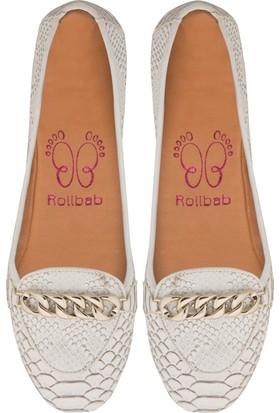 Rollbab Kadın Beyaz Dragon Zincir Ayakkabı Set