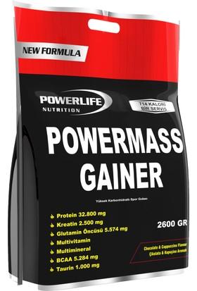 Powerlife Mass Gainer 2600Gr (Çikolata Cappuccıno ) Karbonhidrat Tozu Ve Shaker