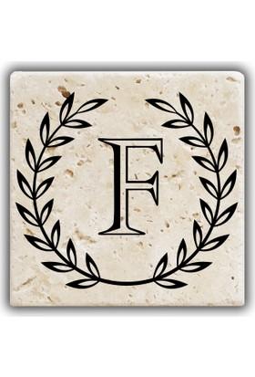 Jojo Tasarım Doğal Taş Bardak Altlığı - F Harfi