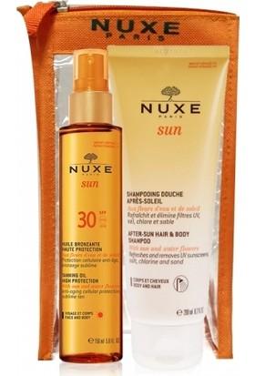 Nuxe Spf30 Bronzlaştırıcı Yüz ve Vücut Yağı 150ml | Güneş Sonrası Şampuan 200ml HEDİYE