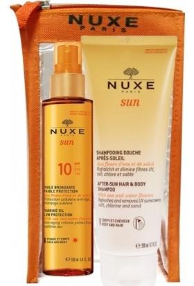 Nuxe Spf10 Bronzlaştırıcı Yüz ve Vücut Yağı 150ml | Güneş Sonrası Şampuan 200ml HEDİYE