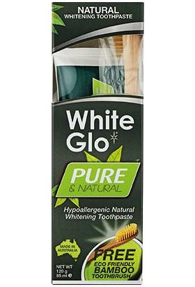 White Glo Pure Saf & Doğal Diş Macunu 85ml + %100 Doğal Bambu Diş Fırçası HEDİYE