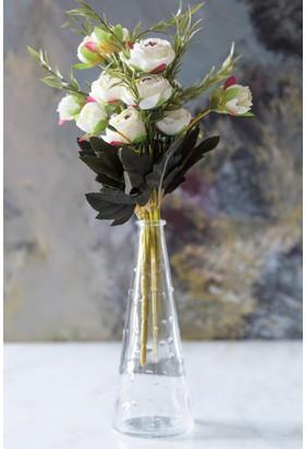 Arma House Beyaz Dekoratif Yapay Şakayık Çiçek 9 Gül Demeti