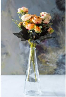Arma House Turuncu Dekoratif Yapay Şakayık Çiçek 9 Gül Demeti