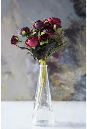 Arma House Kırmızı Dekoratif Yapay Şakayık Çiçek 9 Gül Demeti