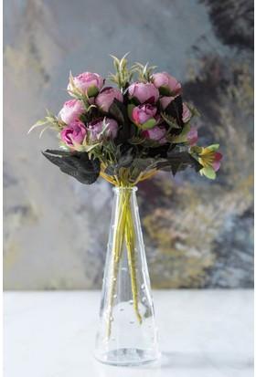 Arma House Pembe Dekoratif Yapay Şakayık Çiçek 9 Gül Demeti