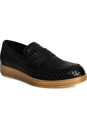 Conteyner Erkek Ayakkabı Hasır Siyah Örgülü 816