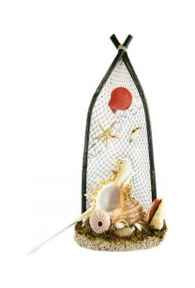 Turkuaz Doğal Deniz Kabuğu ile Tasarlanmış Murex Ramasos Dekor Lamba 20 cm