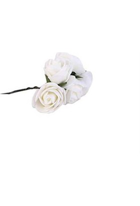 Lateks Eva Yapay Çiçek Gül Beyaz 2 cm* 2 cm 12 Adet= 1 Dal