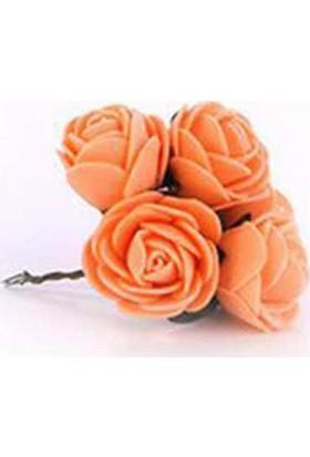 Lateks Eva Yapay Çiçek Gül Somon 2 cm* 2 cm 12 Adet= 1 Dal