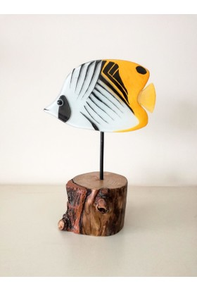 Cam Stüdyo Cam Ve Ağaç Dekor Kelebek Balık