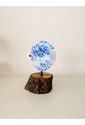 Cam Stüdyo Cam Ve Ağaç Dekor Mavi Balık (Discus)