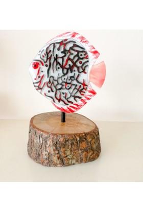 Cam Stüdyo Cam Ve Ağaç Dekor Kırmızı Siyah Balık (Discus)