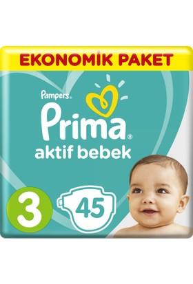 Prima Bebek Bezi Aktif Bebek 3 Beden Midi Ekonomik Paket 45 Adet