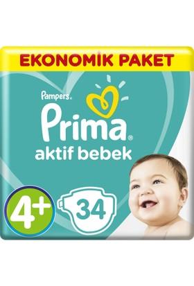 Prima Bebek Bezi Aktif Bebek 4+ Beden Maxi Plus Ekonomik Paket 34 Adet