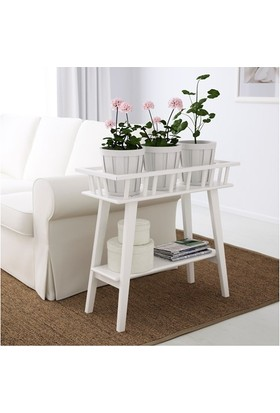 Evcazım Kitap Çiçek Saksı Standı Rafı Kitaplık Beyaz Lantlıv