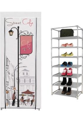 Prado 7 Raflı Çok Amaçlı Bez Dolap, Ayakkabılık Cafe