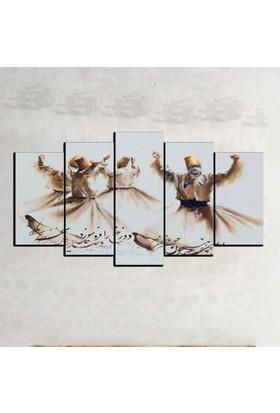 Kanvas Burada DİN5-23 Semazen Dini Dekoratif 5 Parçalı Kanvas Tablo - 120 x 60 cm